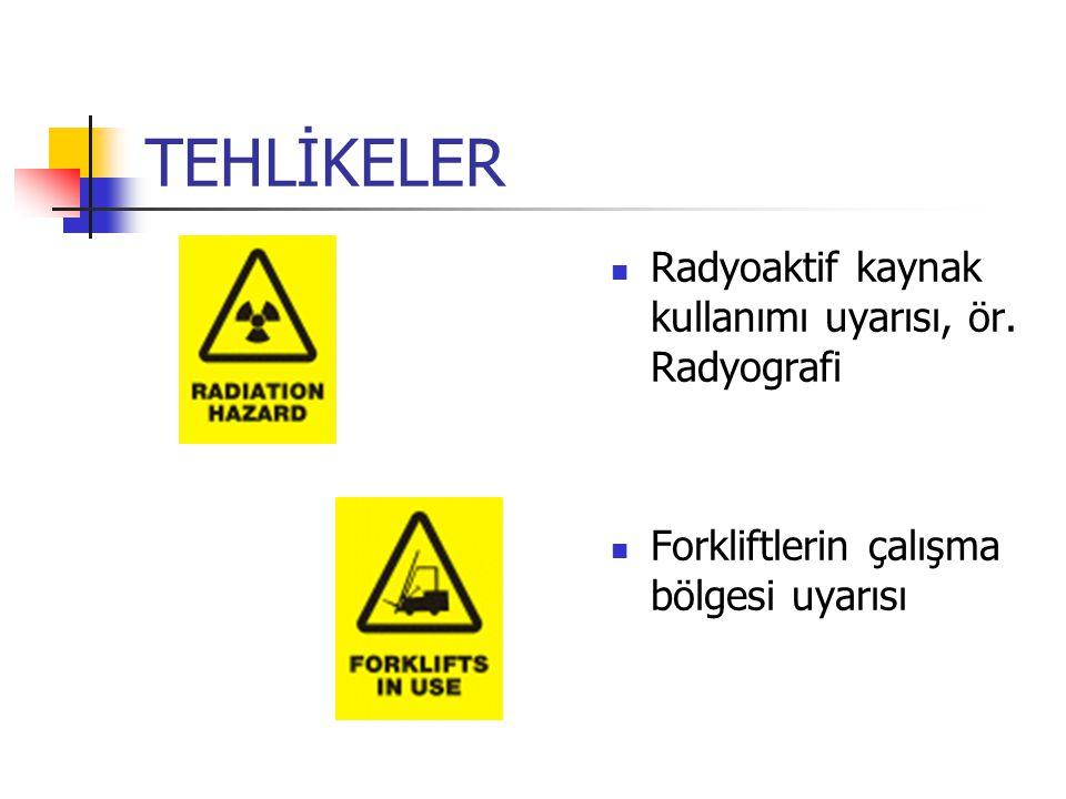 TEHLİKELER Radyoaktif kaynak kullanımı uyarısı, ör. Radyografi Forkliftlerin çalışma bölgesi uyarısı