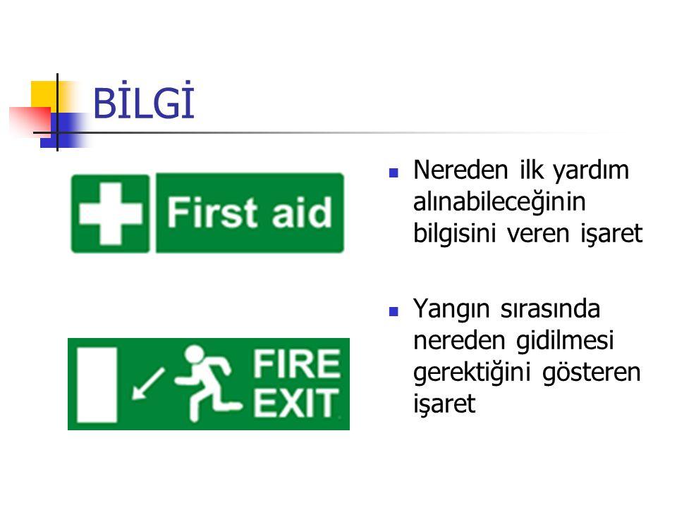 BİLGİ Nereden ilk yardım alınabileceğinin bilgisini veren işaret Yangın sırasında nereden gidilmesi gerektiğini gösteren işaret