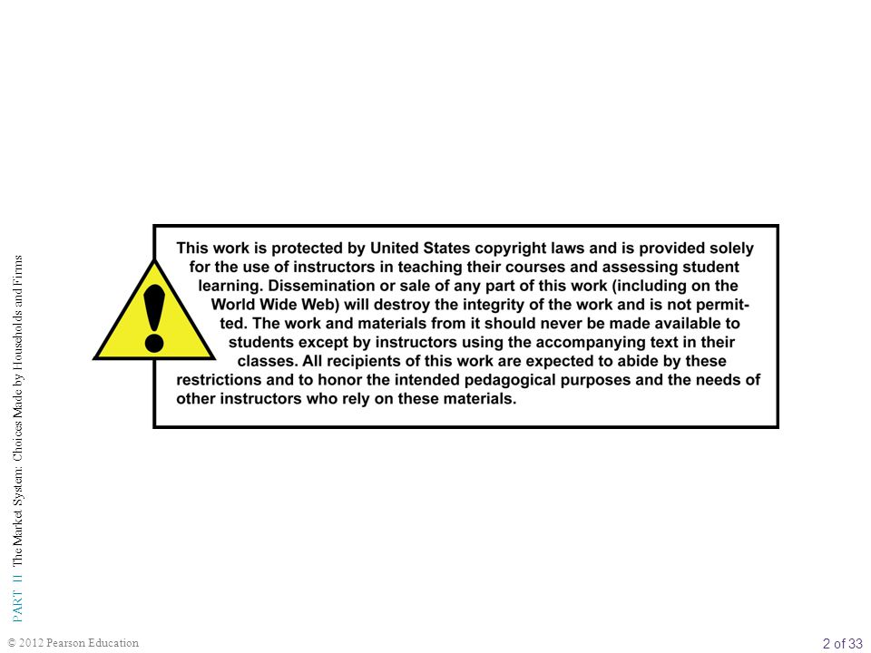 2 of 33 PART II The Market System: Choices Made by Households and Firms © 2012 Pearson Education
