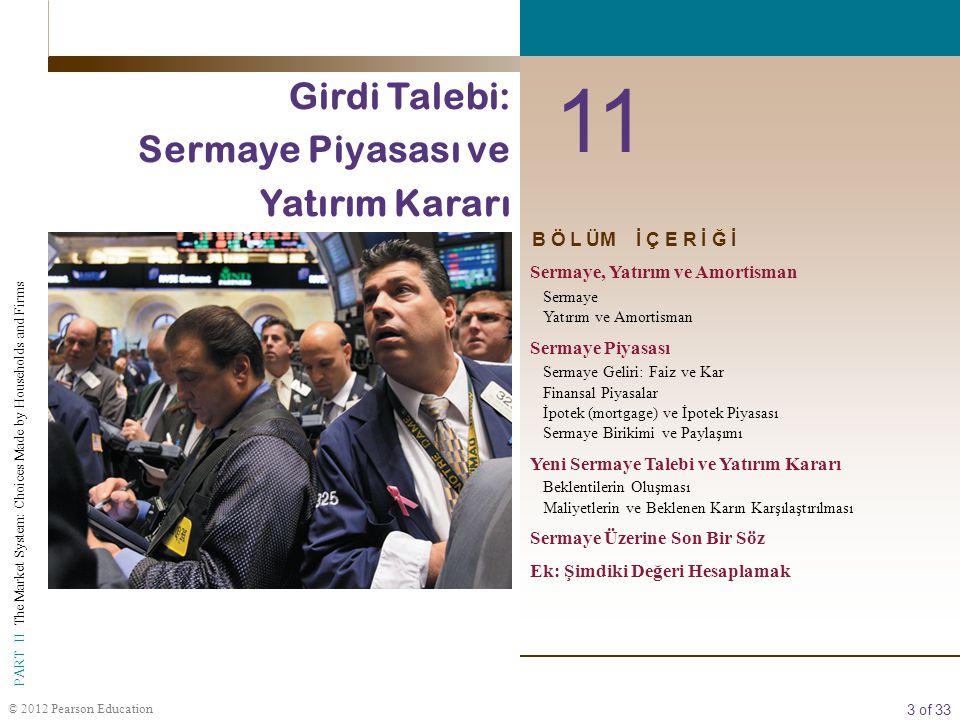 3 of 33 PART II The Market System: Choices Made by Households and Firms © 2012 Pearson Education B Ö L ÜM İ Ç E R İ Ğ İ 11 Girdi Talebi: Sermaye Piyas
