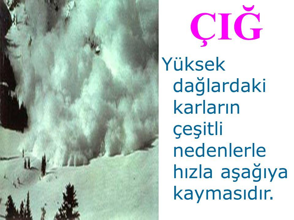 ÇIĞ Yüksek dağlardaki karların çeşitli nedenlerle hızla aşağıya kaymasıdır.
