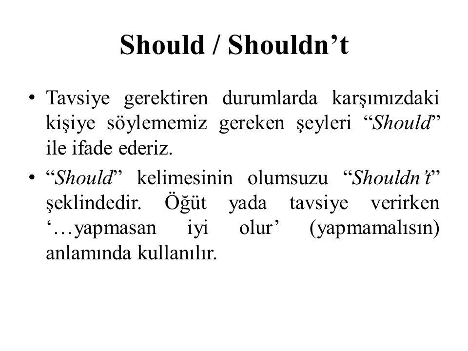 """Should / Shouldn't Tavsiye gerektiren durumlarda karşımızdaki kişiye söylememiz gereken şeyleri """"Should"""" ile ifade ederiz. """"Should"""" kelimesinin olumsu"""