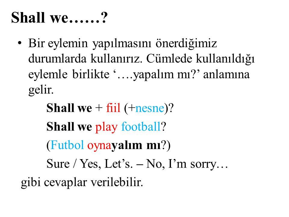 Shall we……? Bir eylemin yapılmasını önerdiğimiz durumlarda kullanırız. Cümlede kullanıldığı eylemle birlikte '….yapalım mı?' anlamına gelir. Shall we