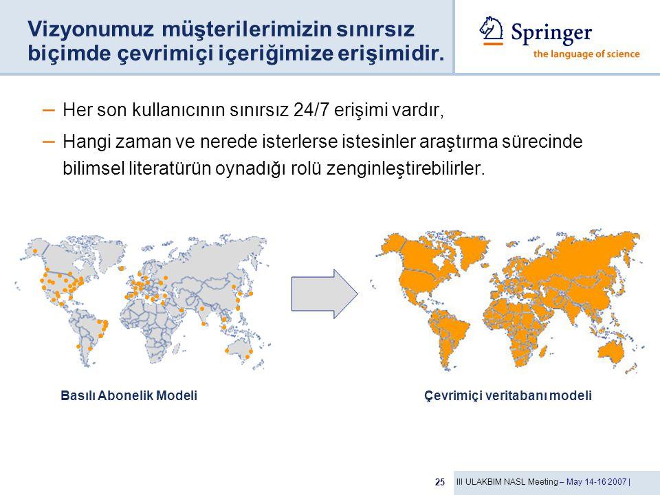 III ULAKBIM NASL Meeting – May 14-16 2007 | 25 Vizyonumuz müşterilerimizin sınırsız biçimde çevrimiçi içeriğimize erişimidir.
