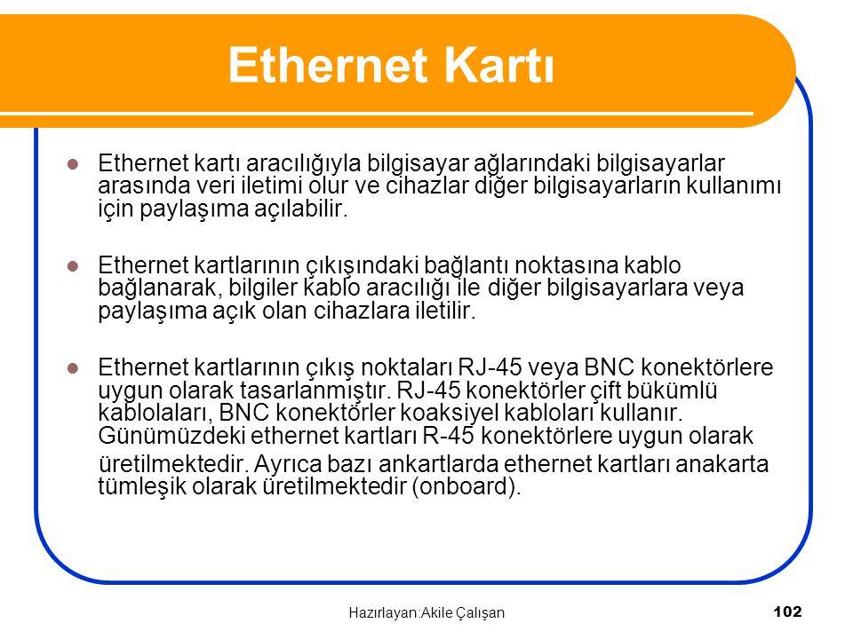 Ethernet kartı aracılığıyla bilgisayar ağlarındaki bilgisayarlar arasında veri iletimi olur ve cihazlar diğer bilgisayarların kullanımı için paylaşıma