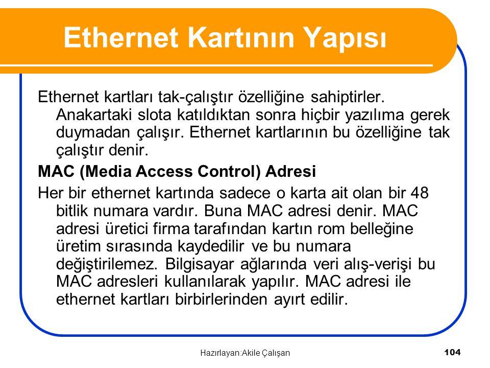 Ethernet Kartının Yapısı Ethernet kartları tak-çalıştır özelliğine sahiptirler. Anakartaki slota katıldıktan sonra hiçbir yazılıma gerek duymadan çalı