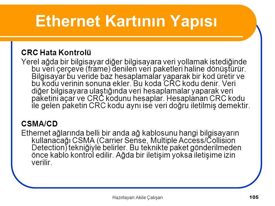 CRC Hata Kontrolü Yerel ağda bir bilgisayar diğer bilgisayara veri yollamak istediğinde bu veri çerçeve (frame) denilen veri paketleri haline dönüştür