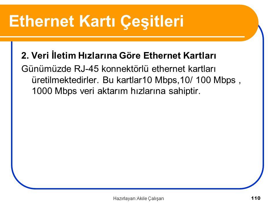 2. Veri İletim Hızlarına Göre Ethernet Kartları Günümüzde RJ-45 konnektörlü ethernet kartları üretilmektedirler. Bu kartlar10 Mbps,10/ 100 Mbps, 1000
