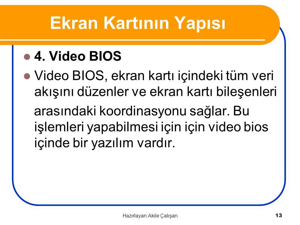 4. Video BIOS Video BIOS, ekran kartı içindeki tüm veri akışını düzenler ve ekran kartı bileşenleri arasındaki koordinasyonu sağlar. Bu işlemleri yapa