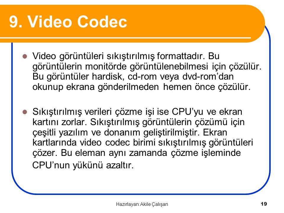 9. Video Codec Video görüntüleri sıkıştırılmış formattadır. Bu görüntülerin monitörde görüntülenebilmesi için çözülür. Bu görüntüler hardisk, cd-rom v