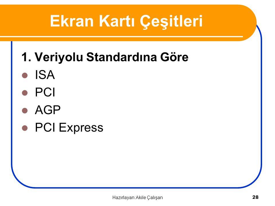 Ekran Kartı Çeşitleri 1. Veriyolu Standardına Göre ISA PCI AGP PCI Express 28 Hazırlayan:Akile Çalışan