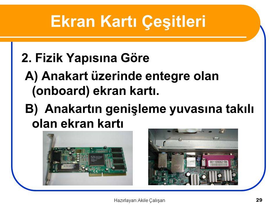 2. Fizik Yapısına Göre A) Anakart üzerinde entegre olan (onboard) ekran kartı. B) Anakartın genişleme yuvasına takılı olan ekran kartı Ekran Kartı Çeş