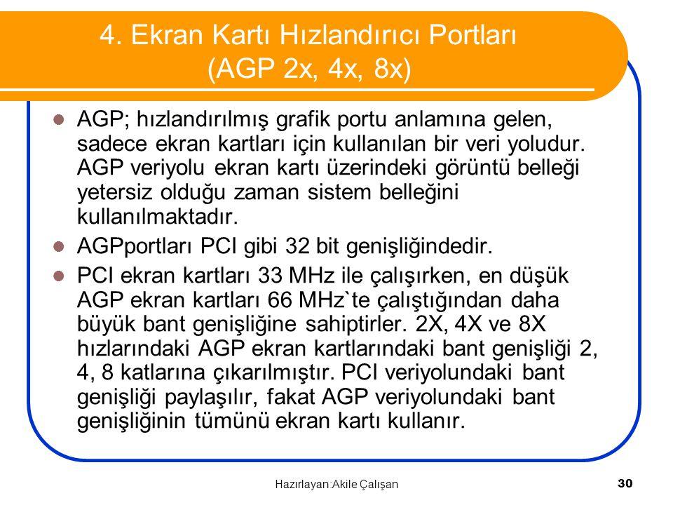 4. Ekran Kartı Hızlandırıcı Portları (AGP 2x, 4x, 8x) AGP; hızlandırılmış grafik portu anlamına gelen, sadece ekran kartları için kullanılan bir veri