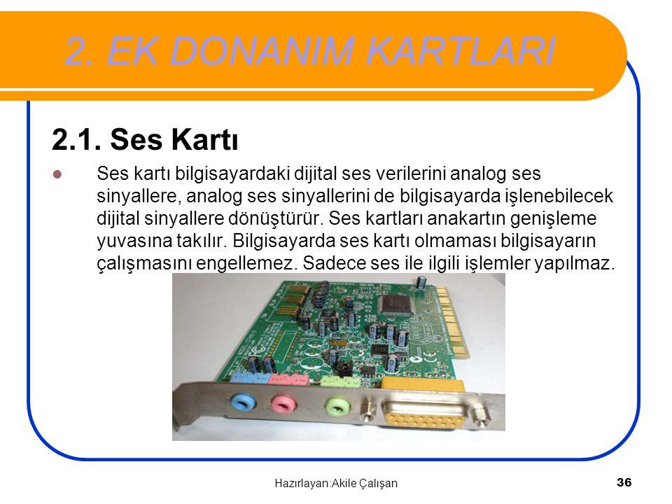 2. EK DONANIM KARTLARI 2.1. Ses Kartı Ses kartı bilgisayardaki dijital ses verilerini analog ses sinyallere, analog ses sinyallerini de bilgisayarda i