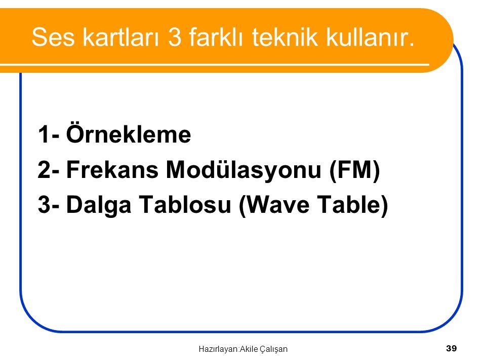 Ses kartları 3 farklı teknik kullanır. 1- Örnekleme 2- Frekans Modülasyonu (FM) 3- Dalga Tablosu (Wave Table) 39 Hazırlayan:Akile Çalışan