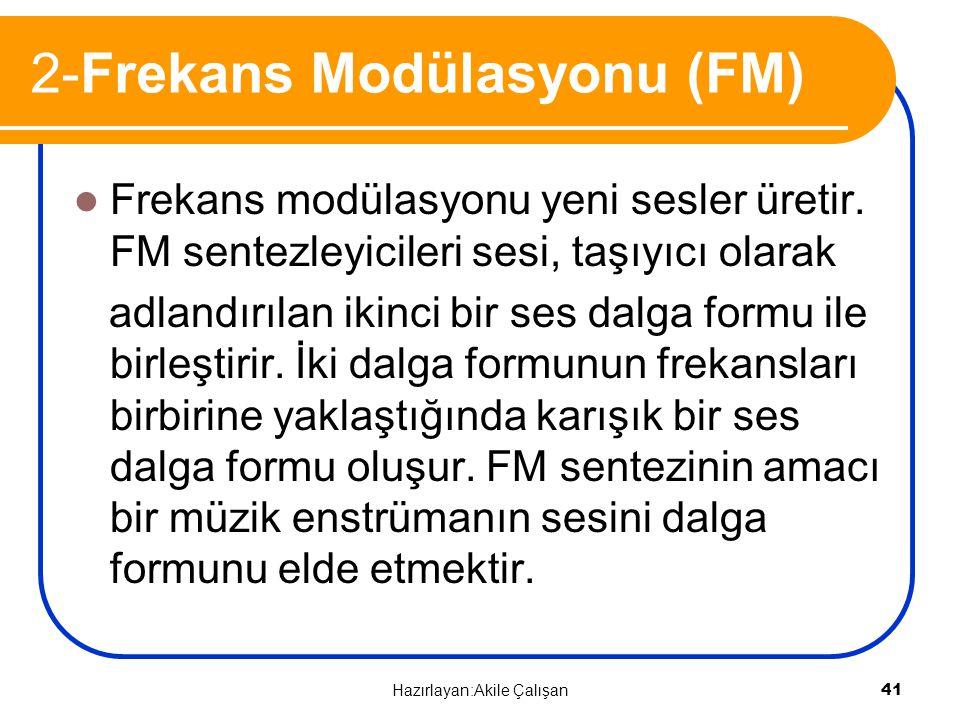 2-Frekans Modülasyonu (FM) Frekans modülasyonu yeni sesler üretir. FM sentezleyicileri sesi, taşıyıcı olarak adlandırılan ikinci bir ses dalga formu i