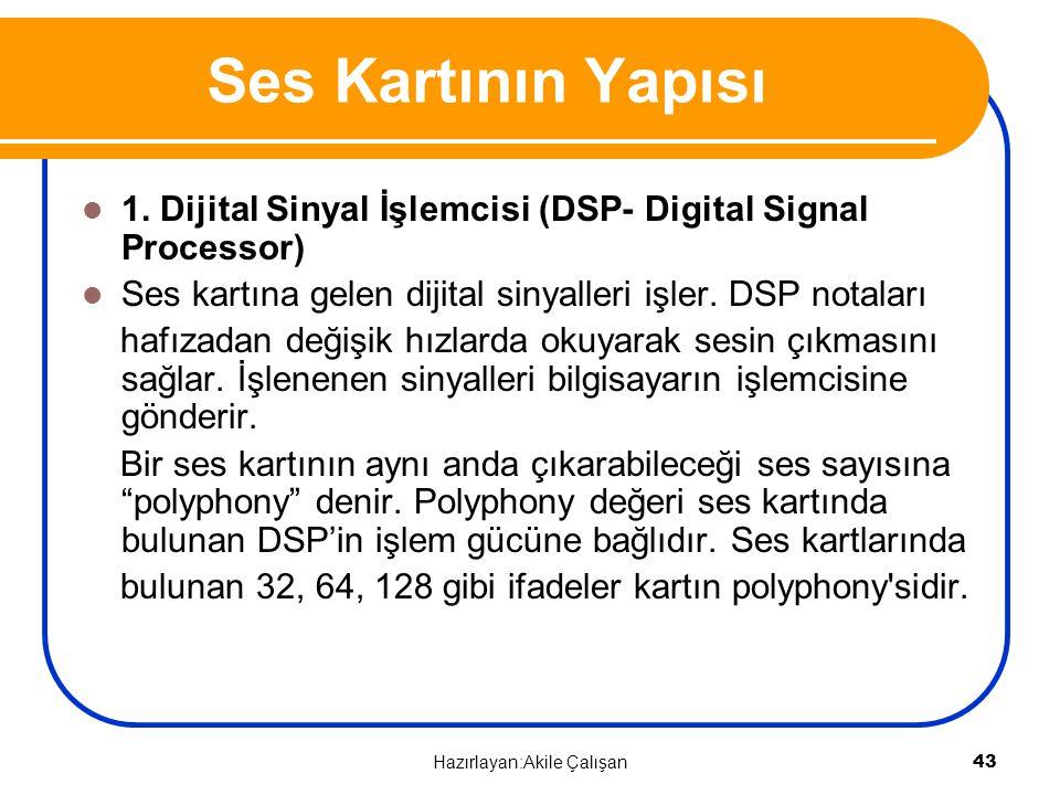 Ses Kartının Yapısı 1. Dijital Sinyal İşlemcisi (DSP- Digital Signal Processor) Ses kartına gelen dijital sinyalleri işler. DSP notaları hafızadan değ