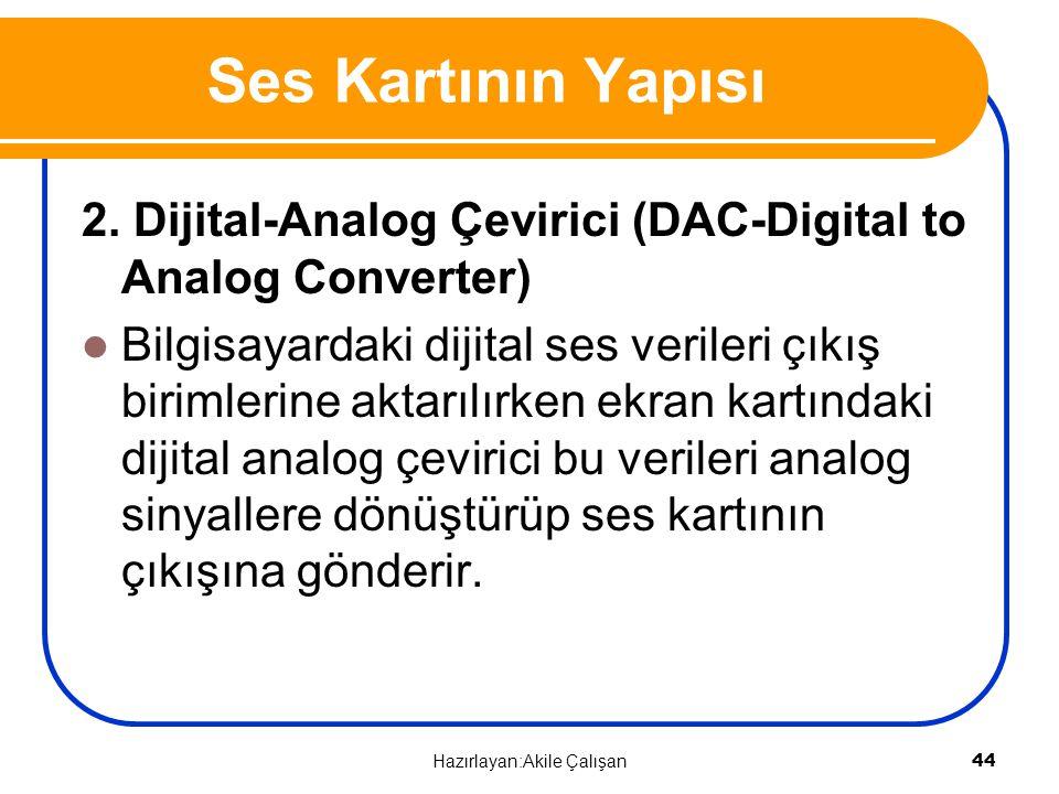 2. Dijital-Analog Çevirici (DAC-Digital to Analog Converter) Bilgisayardaki dijital ses verileri çıkış birimlerine aktarılırken ekran kartındaki dijit