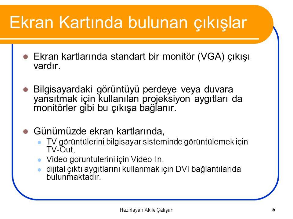 VIDEO–IN, VGA-OUT, DVI-OUT VIDEO – IN: TV, Video, VCD, DVD VGA – OUT: Monitör, Projeksiyon DVI-OUT: LCD, Plazma 6 Hazırlayan:Akile Çalışan