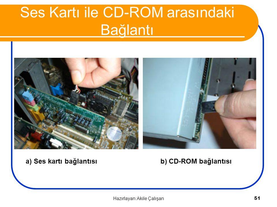 a) Ses kartı bağlantısı b) CD-ROM bağlantısı Ses Kartı ile CD-ROM arasındaki Bağlantı 51 Hazırlayan:Akile Çalışan