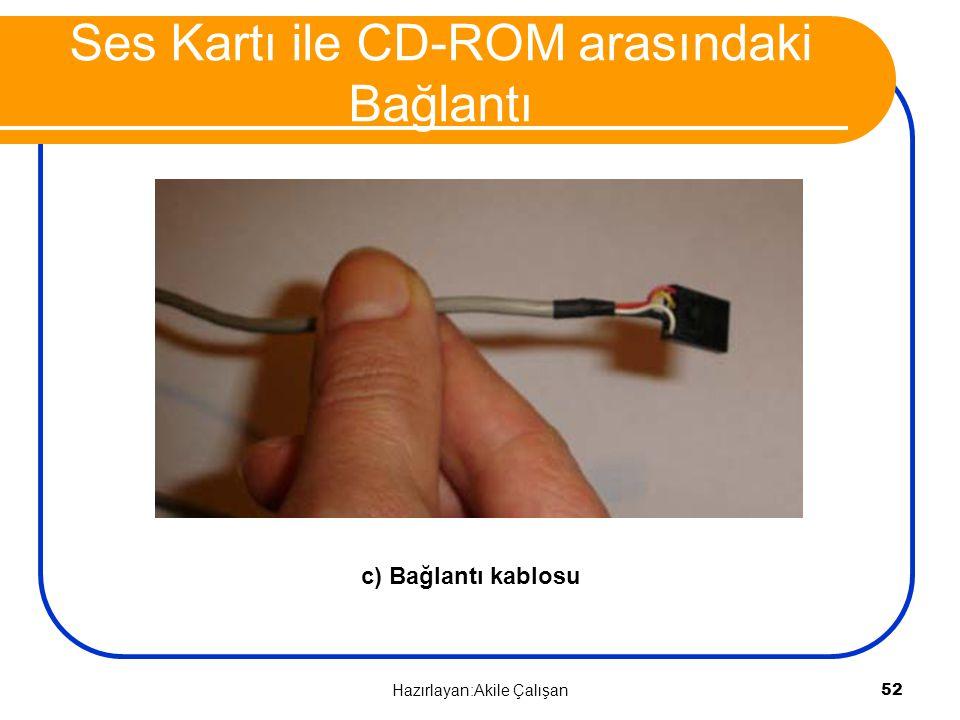 Ses Kartı ile CD-ROM arasındaki Bağlantı c) Bağlantı kablosu 52 Hazırlayan:Akile Çalışan