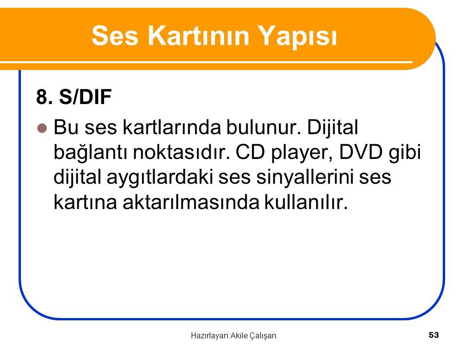 8. S/DIF Bu ses kartlarında bulunur. Dijital bağlantı noktasıdır. CD player, DVD gibi dijital aygıtlardaki ses sinyallerini ses kartına aktarılmasında