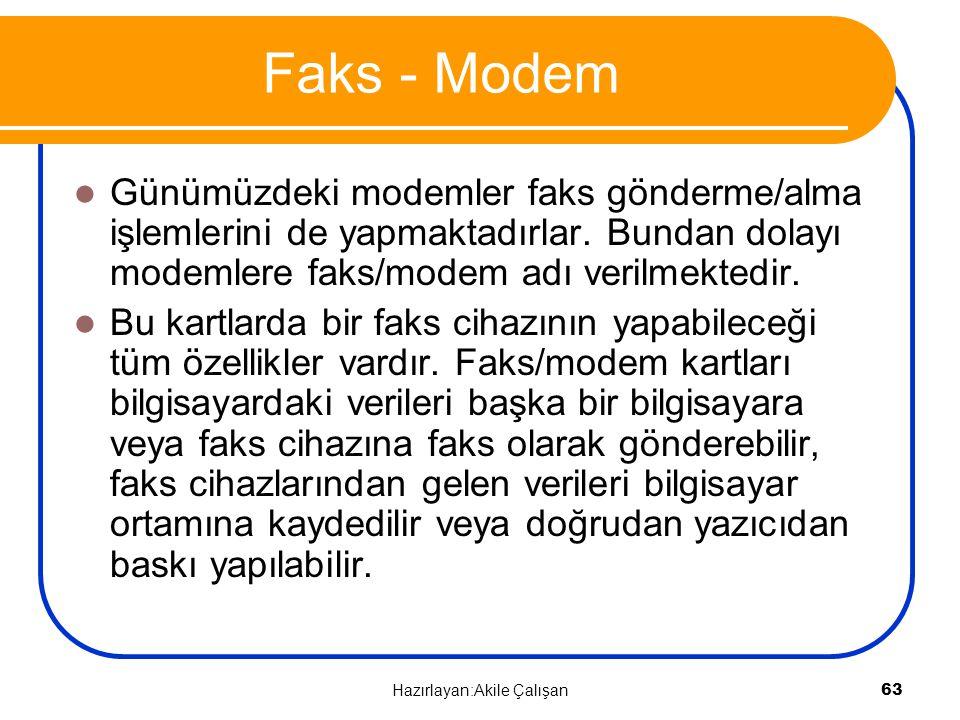Faks - Modem Günümüzdeki modemler faks gönderme/alma işlemlerini de yapmaktadırlar. Bundan dolayı modemlere faks/modem adı verilmektedir. Bu kartlarda