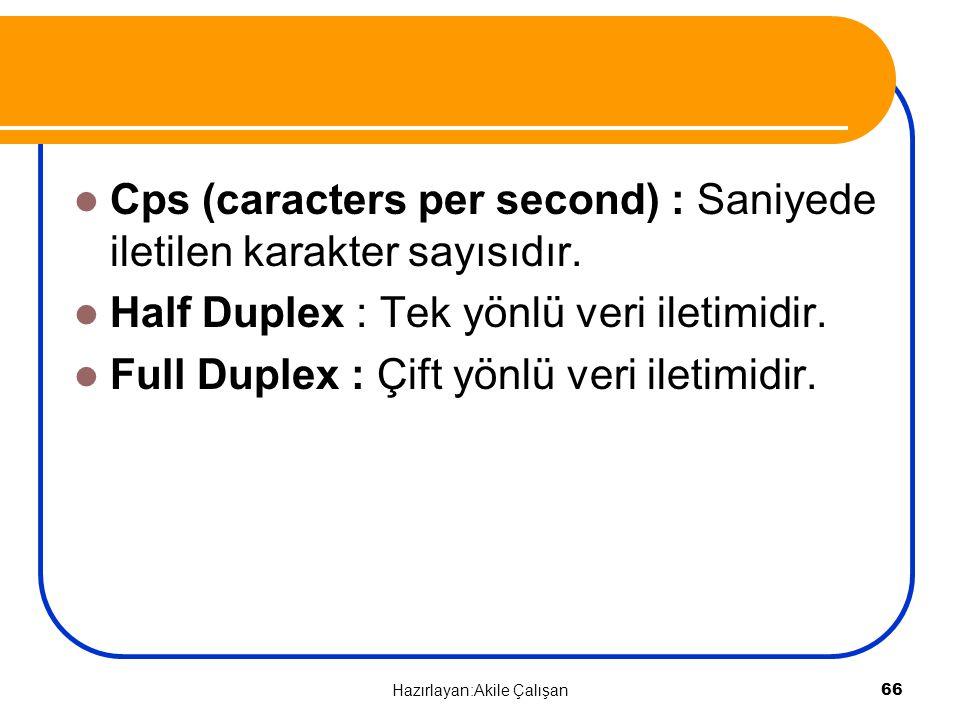 Cps (caracters per second) : Saniyede iletilen karakter sayısıdır. Half Duplex : Tek yönlü veri iletimidir. Full Duplex : Çift yönlü veri iletimidir.