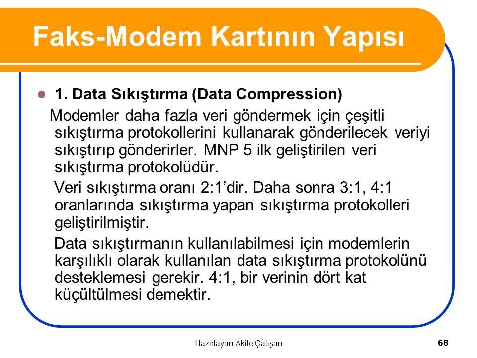 1. Data Sıkıştırma (Data Compression) Modemler daha fazla veri göndermek için çeşitli sıkıştırma protokollerini kullanarak gönderilecek veriyi sıkıştı