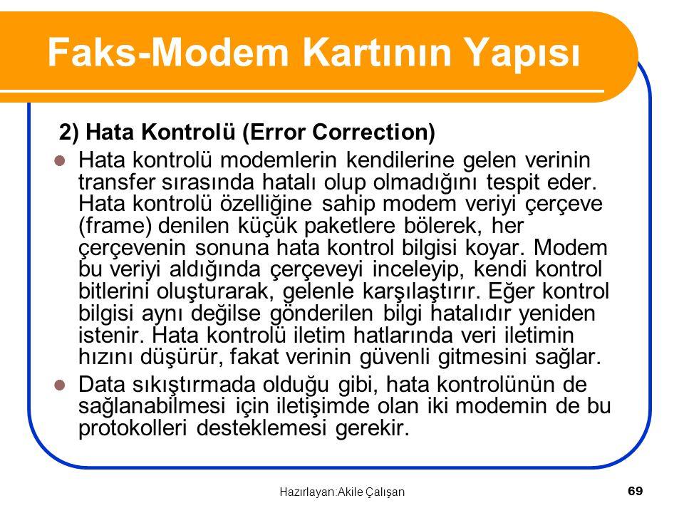 2) Hata Kontrolü (Error Correction) Hata kontrolü modemlerin kendilerine gelen verinin transfer sırasında hatalı olup olmadığını tespit eder. Hata kon