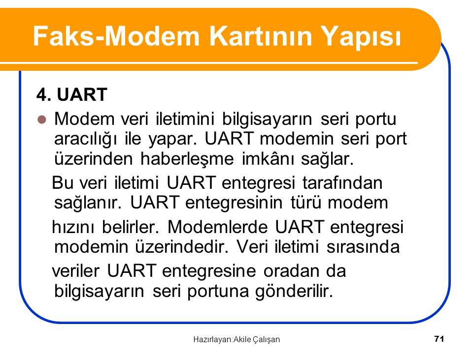 4. UART Modem veri iletimini bilgisayarın seri portu aracılığı ile yapar. UART modemin seri port üzerinden haberleşme imkânı sağlar. Bu veri iletimi U
