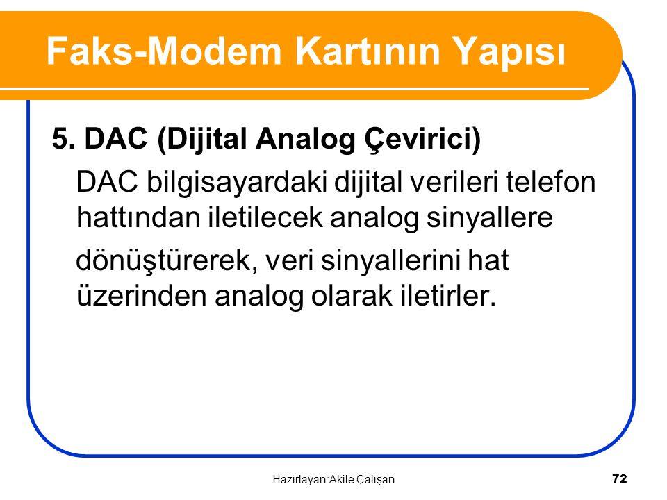 5. DAC (Dijital Analog Çevirici) DAC bilgisayardaki dijital verileri telefon hattından iletilecek analog sinyallere dönüştürerek, veri sinyallerini ha
