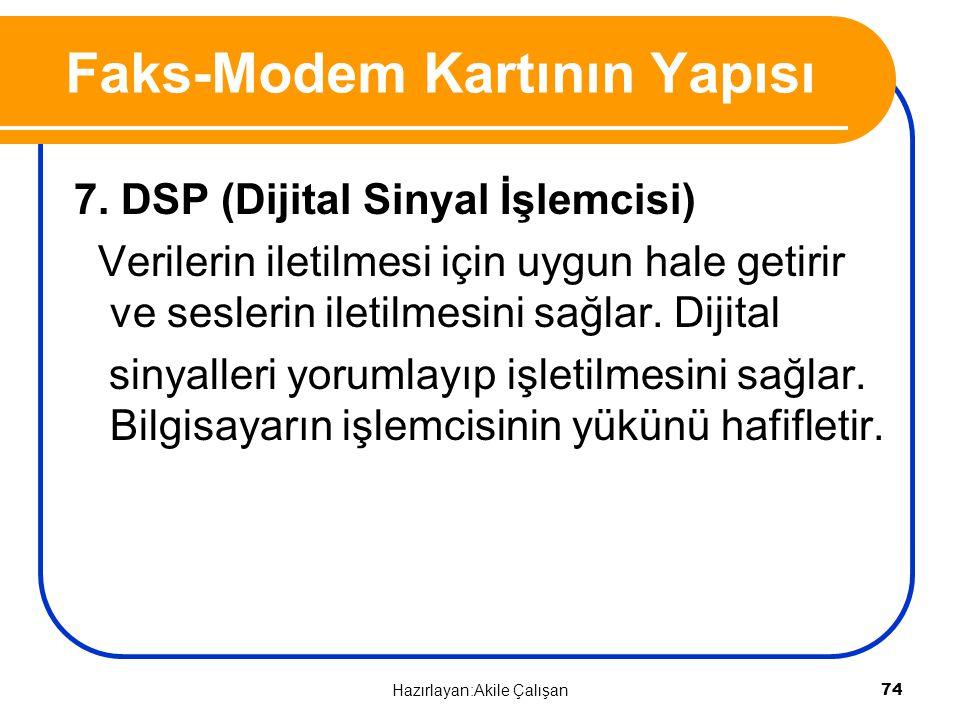 7. DSP (Dijital Sinyal İşlemcisi) Verilerin iletilmesi için uygun hale getirir ve seslerin iletilmesini sağlar. Dijital sinyalleri yorumlayıp işletilm