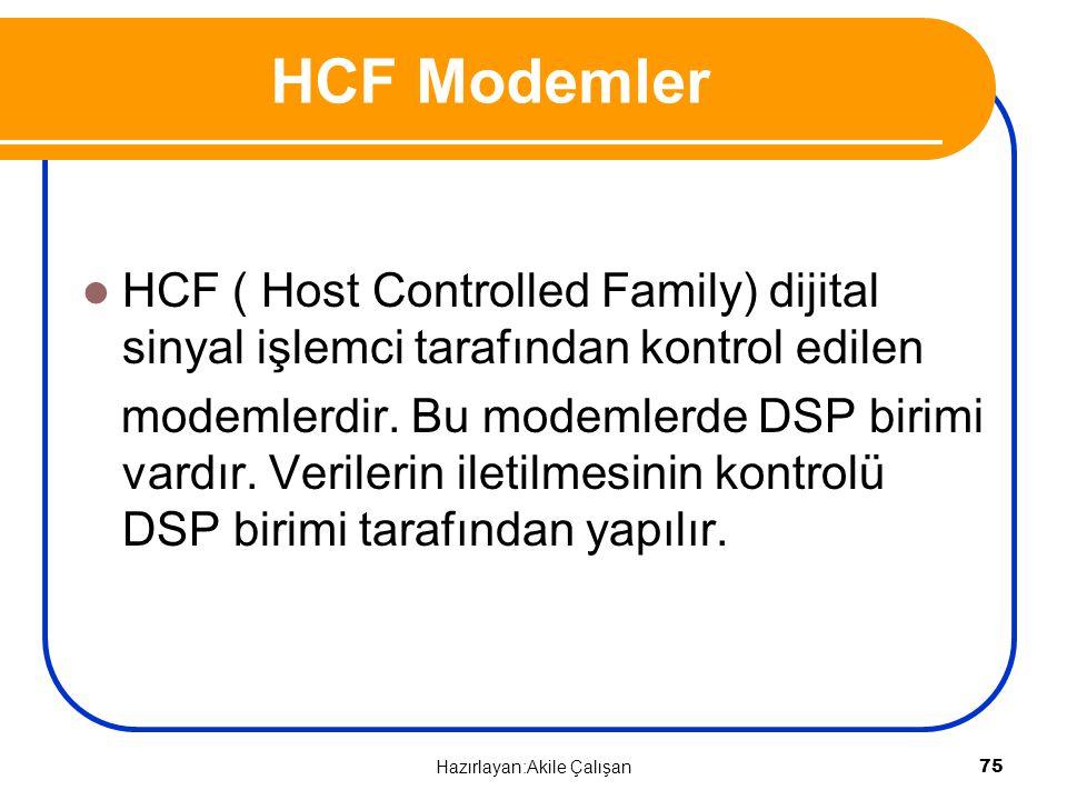 HCF ( Host Controlled Family) dijital sinyal işlemci tarafından kontrol edilen modemlerdir. Bu modemlerde DSP birimi vardır. Verilerin iletilmesinin k