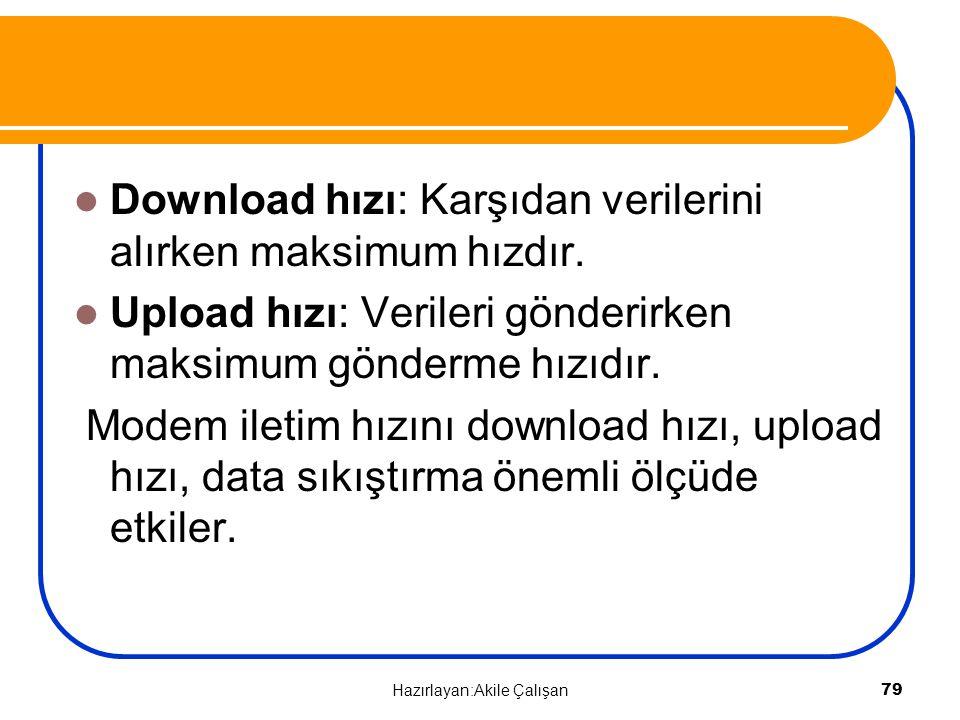 Download hızı: Karşıdan verilerini alırken maksimum hızdır. Upload hızı: Verileri gönderirken maksimum gönderme hızıdır. Modem iletim hızını download