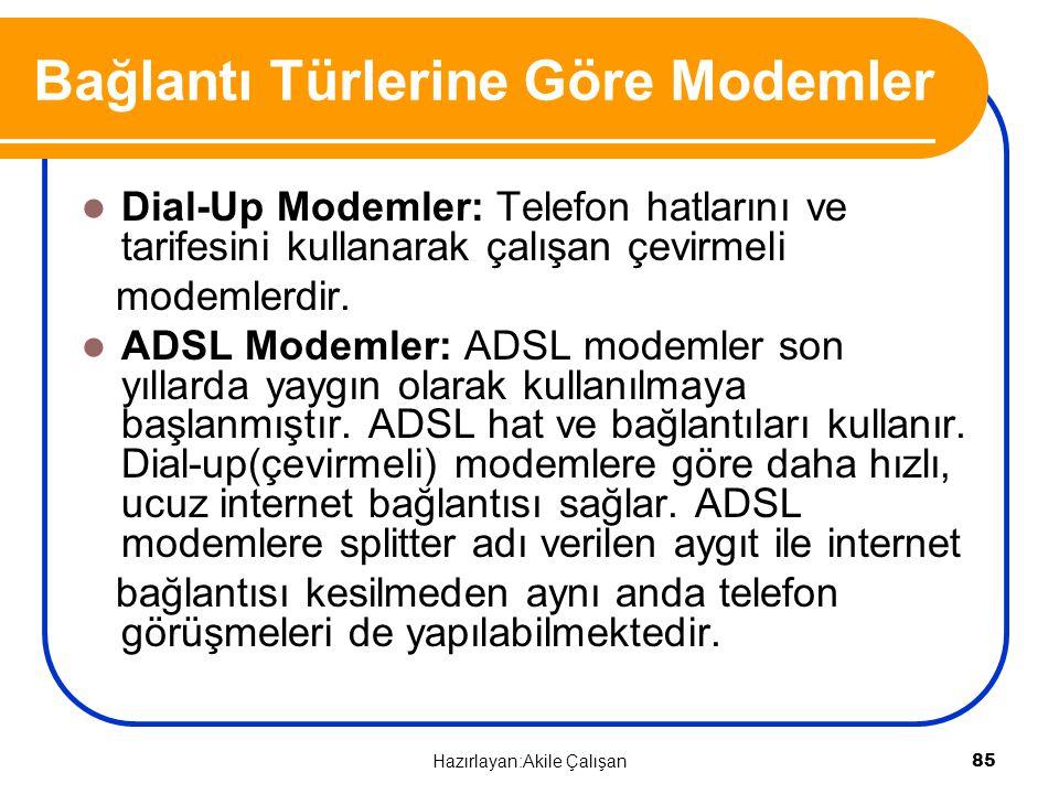 Bağlantı Türlerine Göre Modemler Dial-Up Modemler: Telefon hatlarını ve tarifesini kullanarak çalışan çevirmeli modemlerdir. ADSL Modemler: ADSL modem