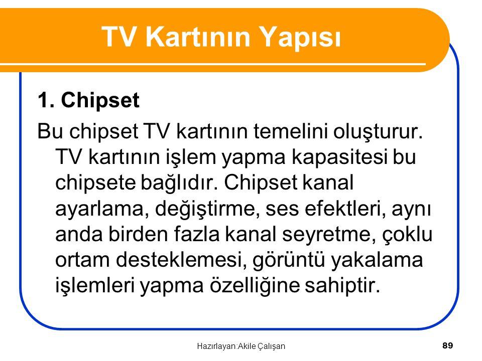 TV Kartının Yapısı 1. Chipset Bu chipset TV kartının temelini oluşturur. TV kartının işlem yapma kapasitesi bu chipsete bağlıdır. Chipset kanal ayarla
