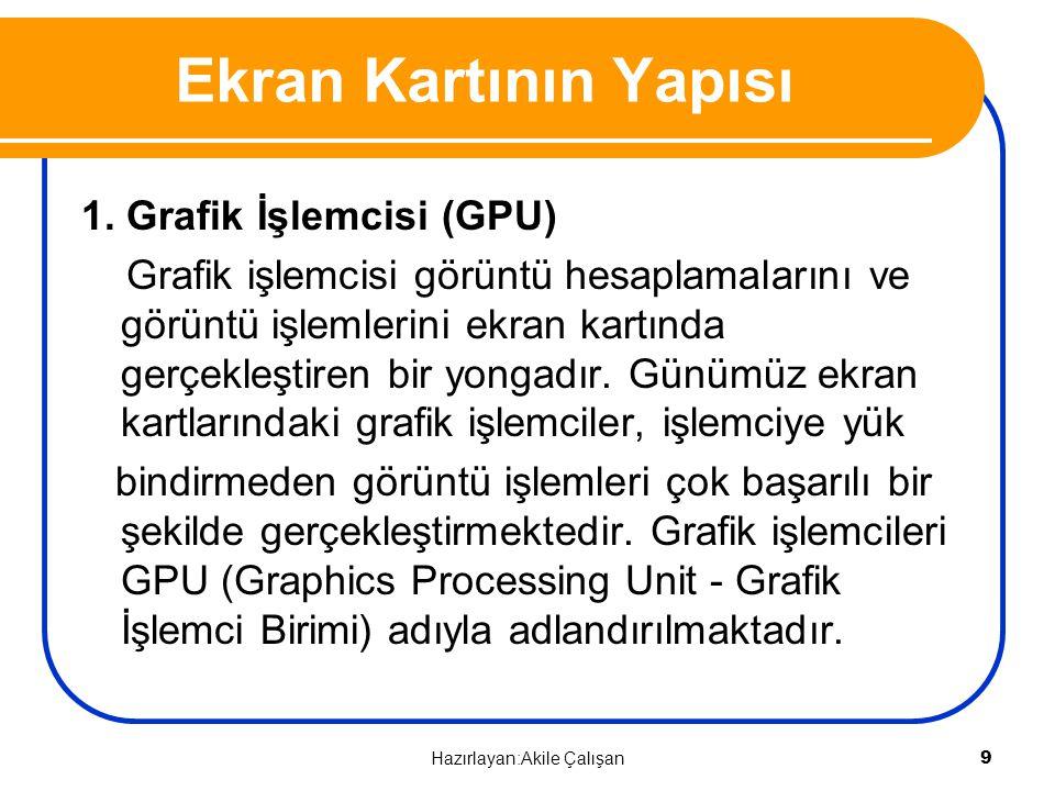 Ekran Kartının Yapısı 1. Grafik İşlemcisi (GPU) Grafik işlemcisi görüntü hesaplamalarını ve görüntü işlemlerini ekran kartında gerçekleştiren bir yong