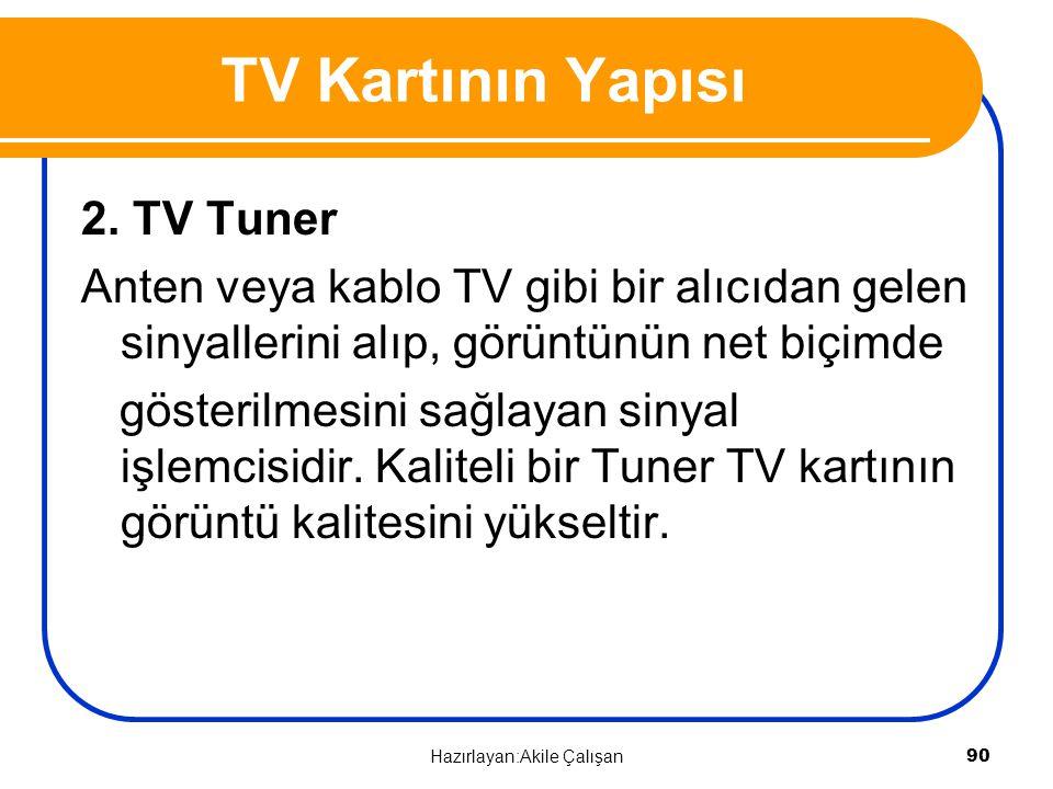 2. TV Tuner Anten veya kablo TV gibi bir alıcıdan gelen sinyallerini alıp, görüntünün net biçimde gösterilmesini sağlayan sinyal işlemcisidir. Kalitel