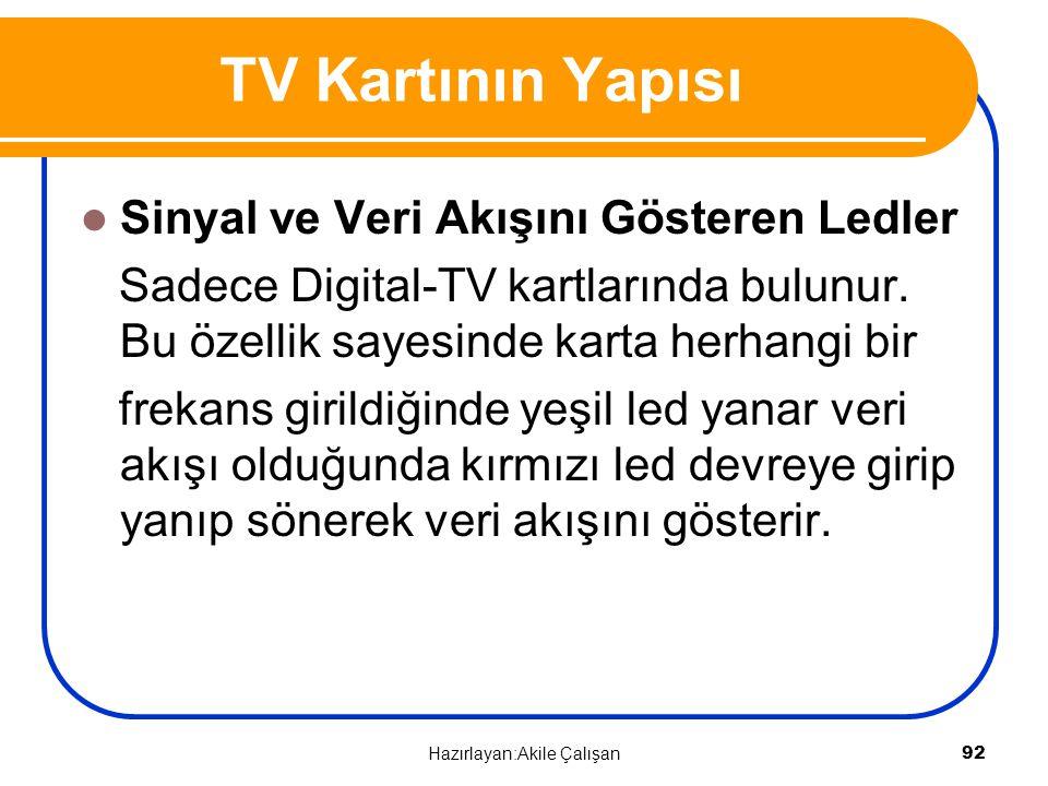 Sinyal ve Veri Akışını Gösteren Ledler Sadece Digital-TV kartlarında bulunur. Bu özellik sayesinde karta herhangi bir frekans girildiğinde yeşil led y