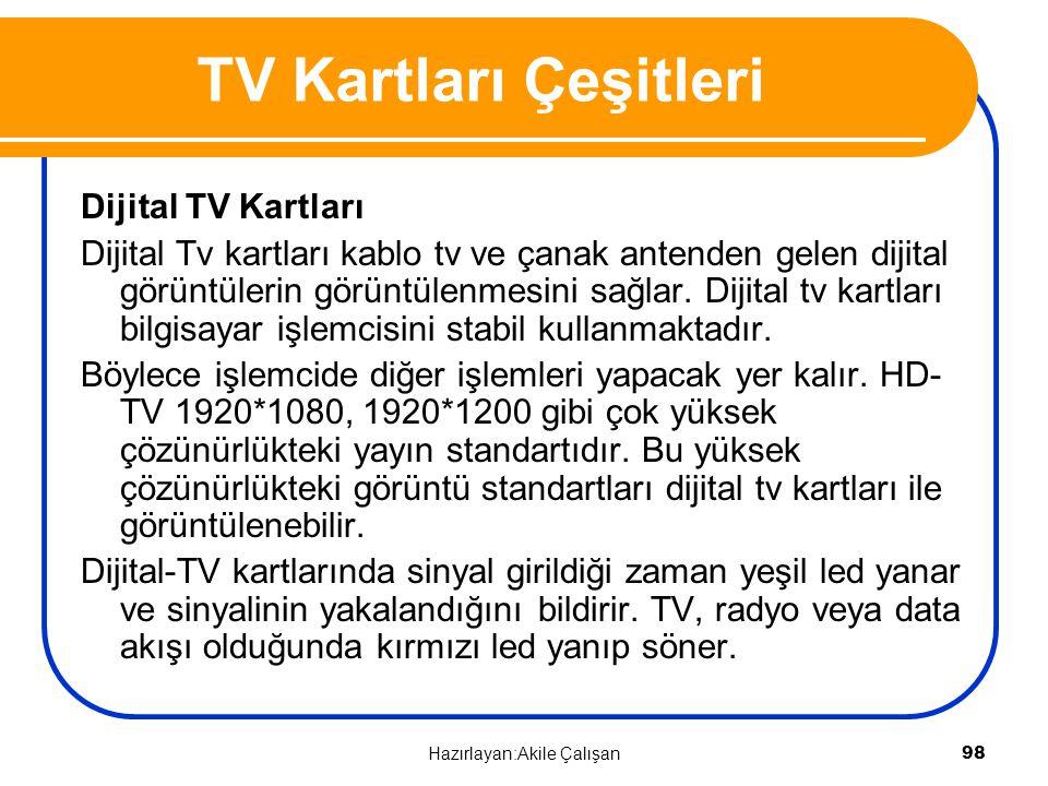 TV Kartları Çeşitleri Dijital TV Kartları Dijital Tv kartları kablo tv ve çanak antenden gelen dijital görüntülerin görüntülenmesini sağlar. Dijital t