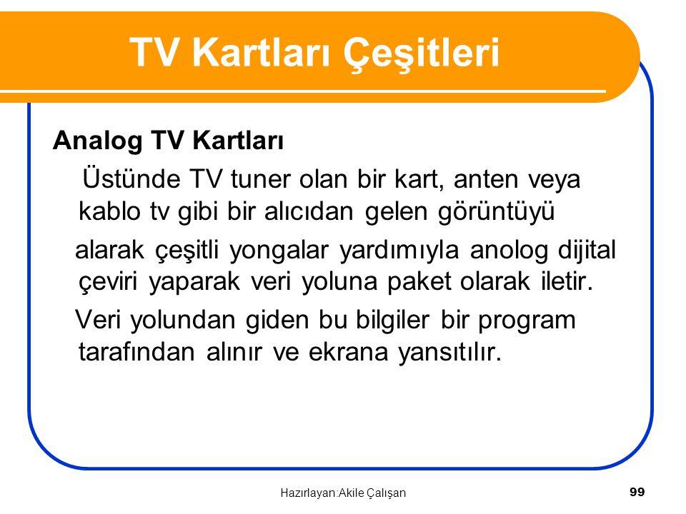 Analog TV Kartları Üstünde TV tuner olan bir kart, anten veya kablo tv gibi bir alıcıdan gelen görüntüyü alarak çeşitli yongalar yardımıyla anolog dij