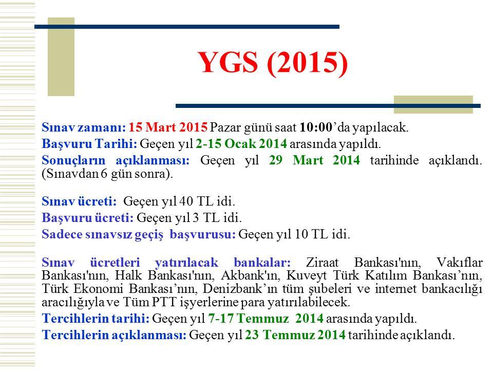 YGS (2015) Sınav zamanı: 15 Mart 2015 Pazar günü saat 10:00'da yapılacak. Başvuru Tarihi: Geçen yıl 2-15 Ocak 2014 arasında yapıldı. Sonuçların açıkla