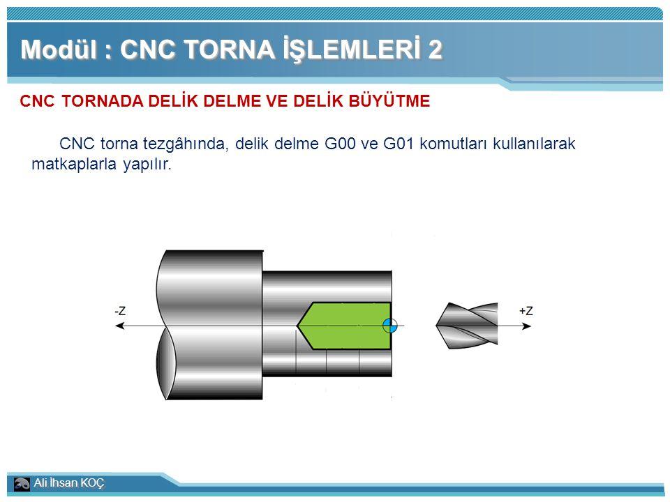 Ali İhsan KOÇ Modül : CNC TORNA İŞLEMLERİ 2 CNC TORNADA DELİK DELME VE DELİK BÜYÜTME CNC torna tezgâhında, delik delme G00 ve G01 komutları kullanılar