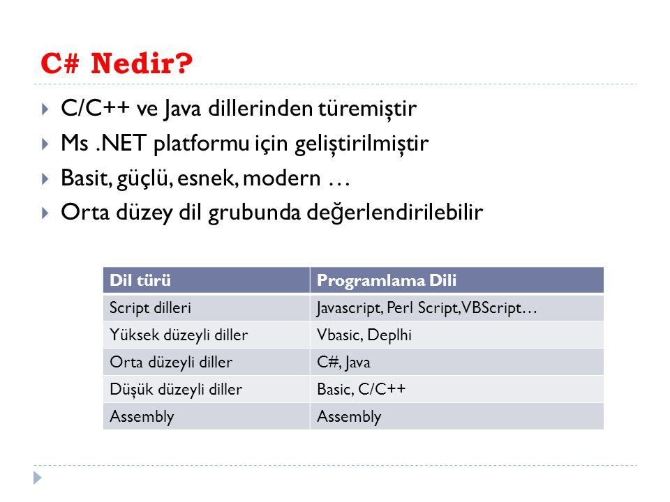 C# Nedir.