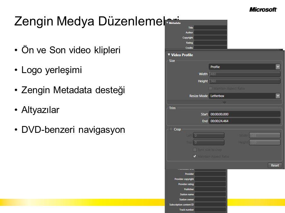 Zengin Medya Düzenlemeleri Ön ve Son video klipleri Logo yerleşimi Zengin Metadata desteği Altyazılar DVD-benzeri navigasyon