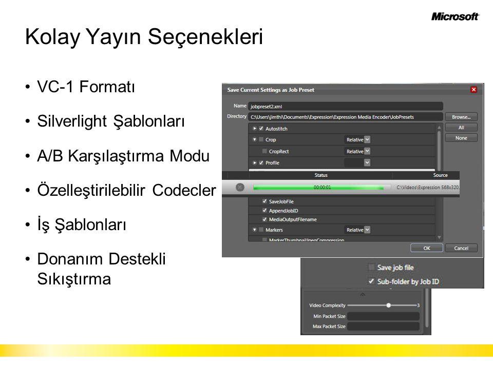 Kolay Yayın Seçenekleri VC-1 Formatı Silverlight Şablonları A/B Karşılaştırma Modu Özelleştirilebilir Codecler İş Şablonları Donanım Destekli Sıkıştırma
