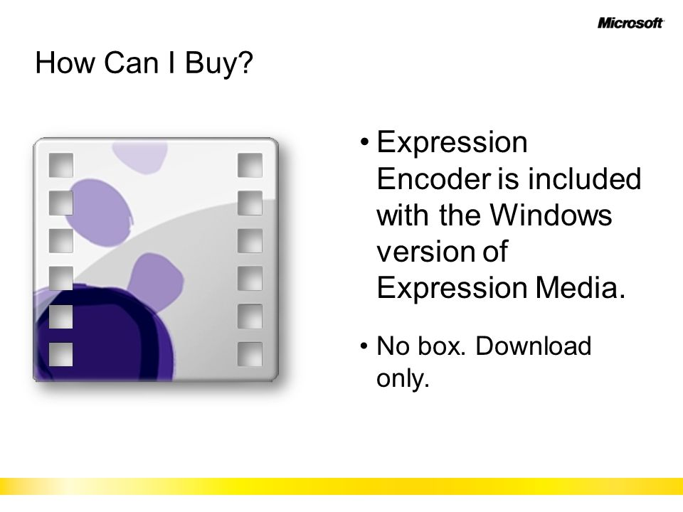 How Can I Buy? Expression Encoder is included with the Windows version of Expression Media. No box. Download only.