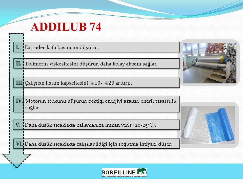ADDILUB 74 I. Extruder kafa basıncını düşürür. II. Polimerin viskositesini düşürür, daha kolay akışını sağlar. III. Çalışılan hattın kapasitesini %10-