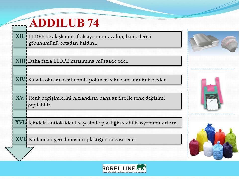 XII. LLDPE de akışkanlık fraksiyonunu azaltıp, balık derisi görünümünü ortadan kaldırır. XII. LLDPE de akışkanlık fraksiyonunu azaltıp, balık derisi g